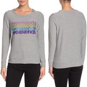 NWT Chaser Weekend Sparkle Rainbow Grey Sweatshirt